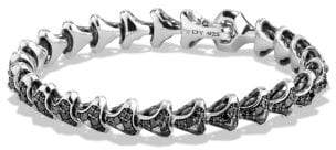 David Yurman Davidyurman Armory Single Row Link Bracelet With Black Diamonds