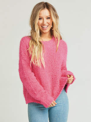 Show Me Your Mumu Cropped Varsity Sweater ~ Dazzling Pink Knubby Knit