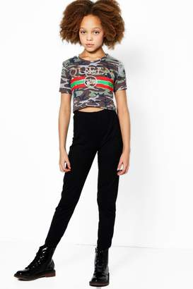 boohoo Girls Camo Queen Crop Top & Legging Set