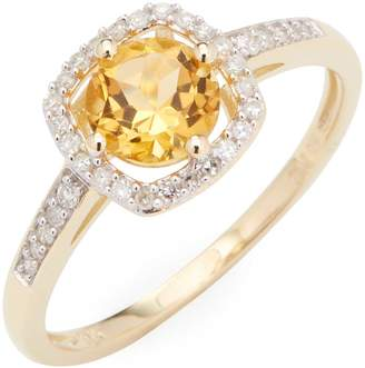 Rina Limor Fine Jewelry Women's 10k Yellow Gold Citrine and Diamond Halo Square Ring