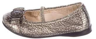 Burberry Girls' Leather Embellished Flats