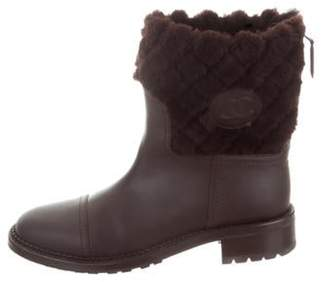 Chanel Shearling-Accented CC Boots Brown Shearling-Accented CC Boots