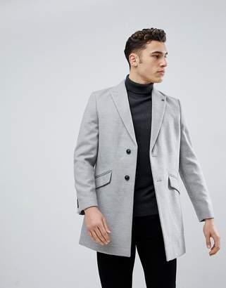 Burton Menswear Overcoat In Light Grey