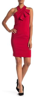 Carmen Marc Valvo Ruffle Halter Dress