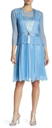Komarov Pleat Skirt Dress with Jacket