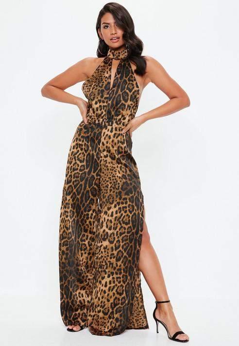 Brown Leopard Print Split Leg Jumpsuit, Brown