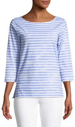 Majestic Paris for Neiman Marcus 3/4-Sleeve Striped Boat-Neck Top