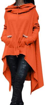 Zilcremo Women Pullover Hooded Sweatshirt Tops Midi Sweatshirt Plus Size XXL