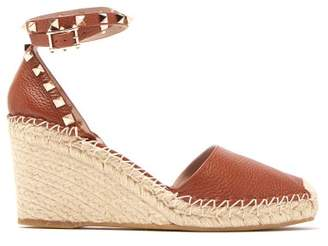 Valentino Rockstud Leather Espadrille Wedges - Womens - Tan