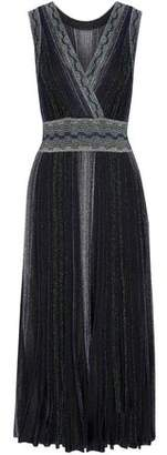 Missoni Wrap-Effect Pleated Metallic Crochet-Knit Midi Dress