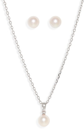 Mikimoto Everyday Essentials 18K Pearl Necklace and Stud Earrings Set