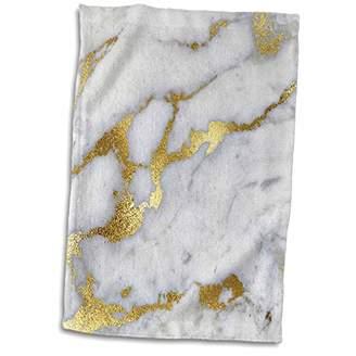 3dRose Luxury Grey Copper Gem Stone Marble Glitter Metallic Faux Print Towels