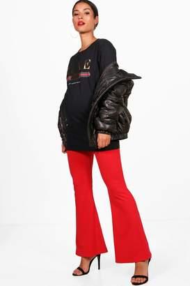 boohoo Maternity Ella Over The Bump Flare Trouser