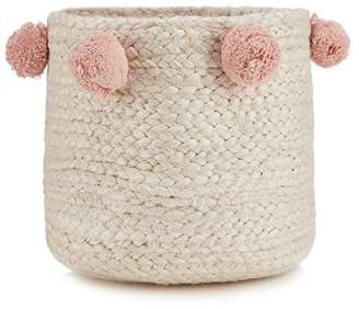 Debenhams Home Collection - Natural Jute Pom Pom Storage Basket