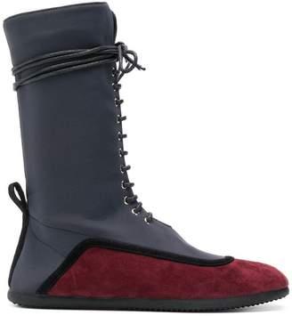 L'Autre Chose two-tone lace-up boots