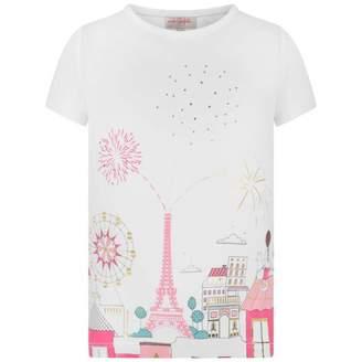 Lili Gaufrette Lili GaufretteGirls White Parisian Print Top
