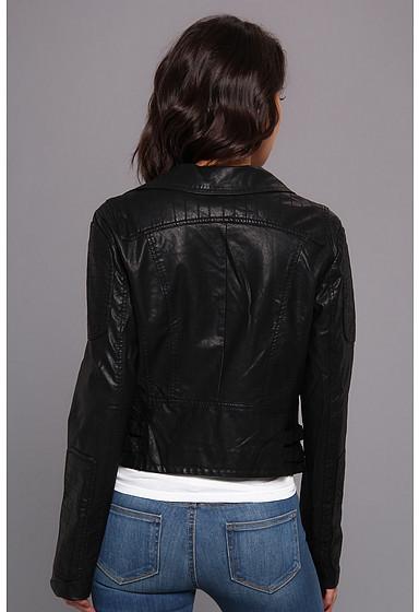 Members Only P.U. Biker Jacket w/ Faux Mongolian Fur Trim
