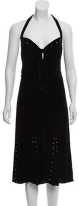 Anna Sui Velvet Embellished Dress Black Velvet Embellished Dress