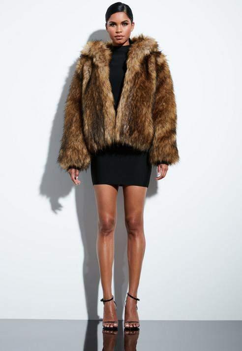 Brown Faux Fur Hooded Coat, Brown