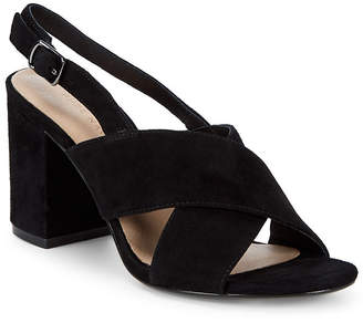 Pure Navy Suede Block-Heel Sandals