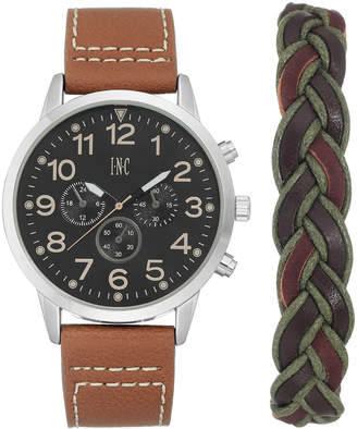 INC International Concepts I.n.c. Men's Luggage Brown Faux Leather Strap Watch 45mm Gift Set