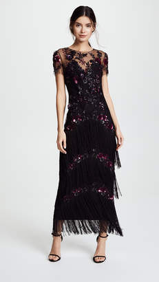 Marchesa Short Sleeve Embroidered Fringe Tiered Gown