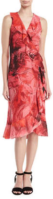 Fuzzi Floral-Print Sleeveless Wrap Dress