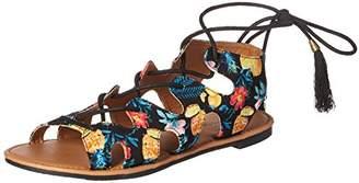 Qupid Women's Lace up Flat Sandal
