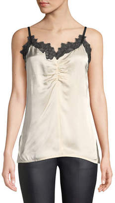Helmut Lang Ruched Lace-Trim Cami Slip Top