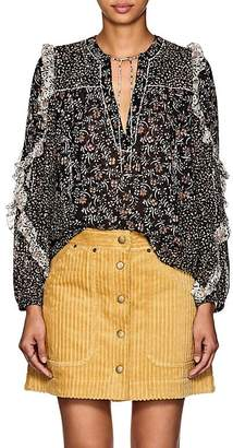 Ulla Johnson Women's Norma Floral Swiss-Dot Silk-Blend Blouse
