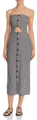 leRumi Violet Strapless Gingham Midi Dress