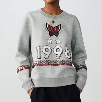 Maje Cotton sweatshirt with sequins