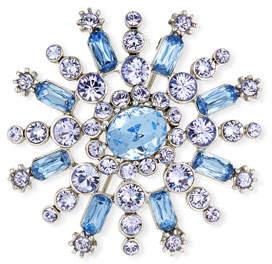 Oscar de la Renta Flower Pave Crystal Brooch