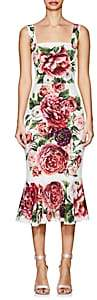 Dolce & Gabbana Women's Peony-Print Matte Stretch-Silk Flounce Dress - White