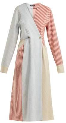 Anna October - Striped Midi Dress - Womens - Light Blue