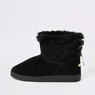 River Island Black suede quilted faux fur lined boots