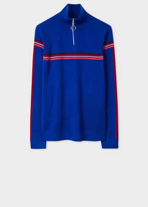 Paul Smith Women's Cobalt Blue Funnel Neck Wool Half-Zip Sweater