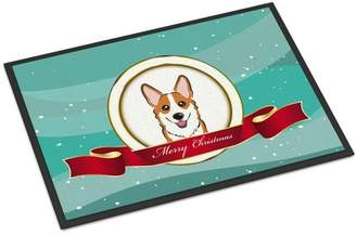 Corgi Caroline's Treasures Merry Christmas Doormat Mat