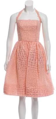 Oscar de la Renta Metallic Mini Dress Pink Metallic Mini Dress