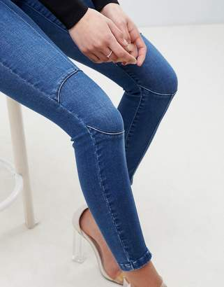 Asos Design DESIGN Ridley High Waist Skinny Jeans With Circluar Moto Knee Detail In Dark Wash Blue