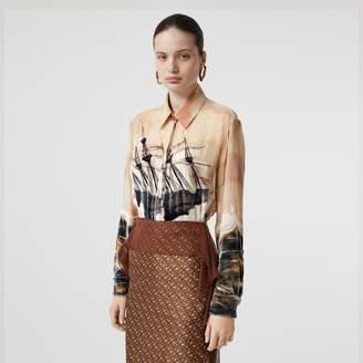 Burberry Ship Print Devoré Silk Blend Oversized Shirt