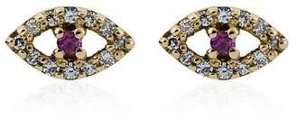 Ileana Makri Diamond & Ruby rose gold eye earrings