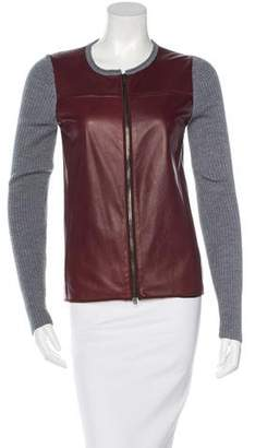 Reed Krakoff Leather-Paneled Knit Cardigan