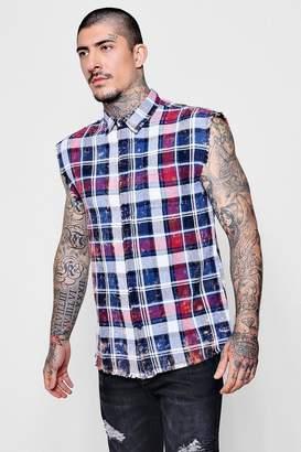 boohoo Acid Wash Sleeveless Check Shirt