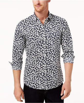 Michael Kors Men's Stretch Leaf-Print Classic Fit Shirt