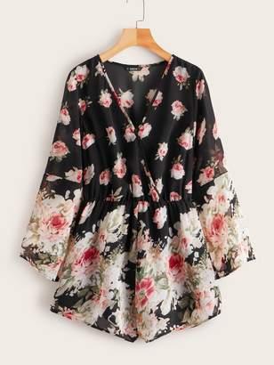 Shein Flounce Sleeve Floral Print Chiffon Romper