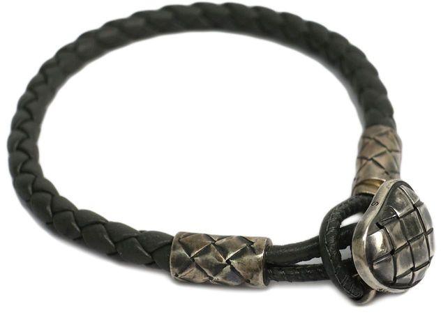Bottega VenetaBottega Veneta 925 Sterling Silver & Leather Intrecciato Bracelet