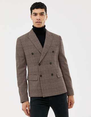 Asos Design DESIGN slim double breasted blazer in wool mix with pink check