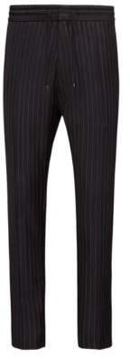 HUGO BOSS Pinstriped Wool Pant, Tapered Fit Himesh 30R Black