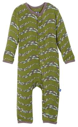 Kickee Pants Print Fitted Coverall in Moss Schooling Fish (Baby Boys)